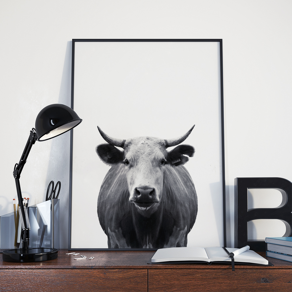 Minimal cow wall art the okie home for Minimal art wall
